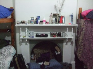 The fireplace/shelving in between our 2 sets of bunk beds