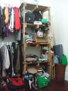 One set of really high shelves. We get 2 shelves each to keep our stuff on