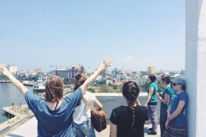 This is us lifting Jesus up over the City of Makassar on the roof of the hospital